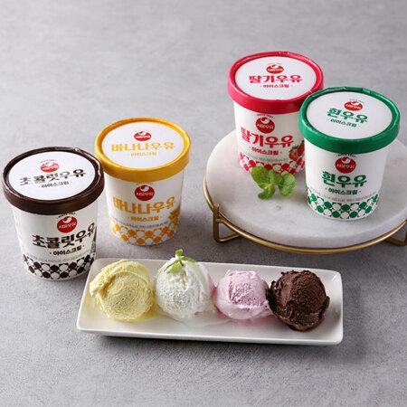 서울우유 4종 아이스크림(흰우유,초코,딸기,바나나)