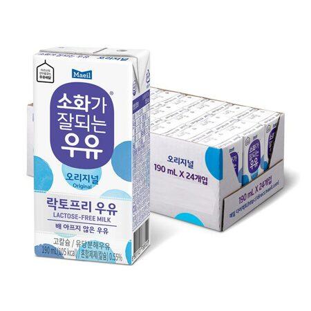매일 소화가 잘되는 우유(락토프리) 멸균 190ml 24팩_마켓핫딜